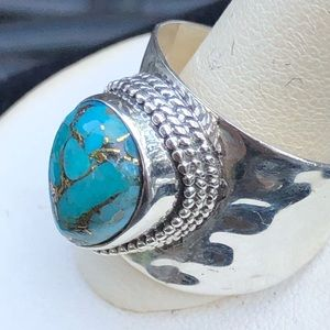 Sterling 925 Teardrops Turquoise Wide Ring 10